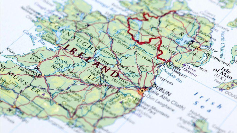 Map showing border between Northern Ireland and Republic of Ireland