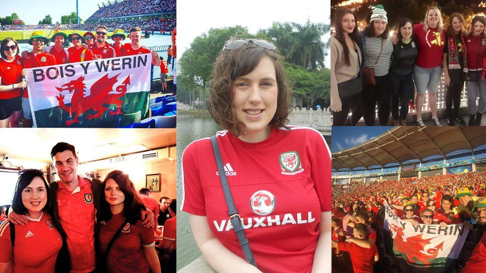 various pictures of Ffion Owen supporting Wales