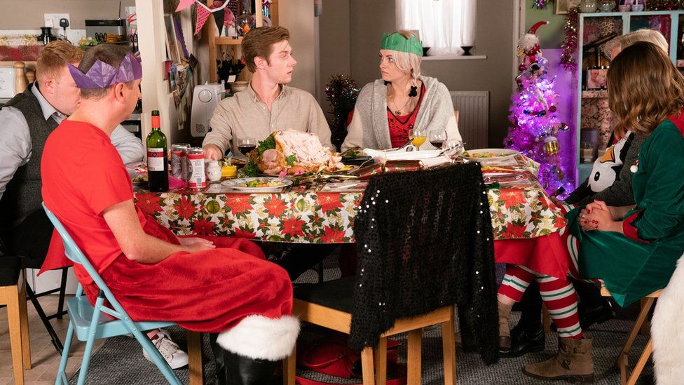 Sinead and Daniel at the Christmas dinner table