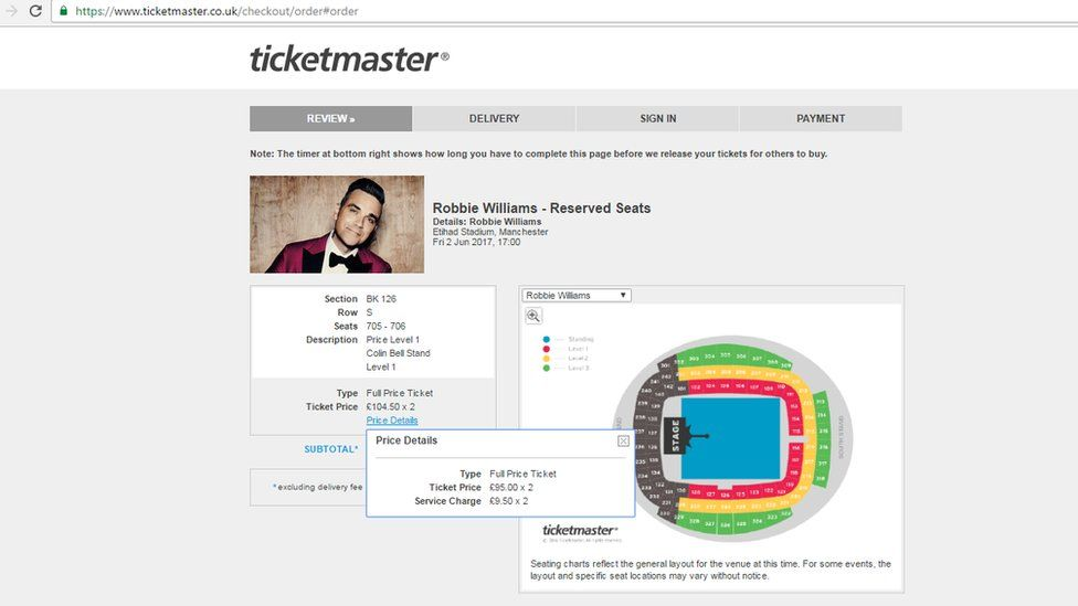 Screen grab of Robbie Williams tickets on Ticketmaster