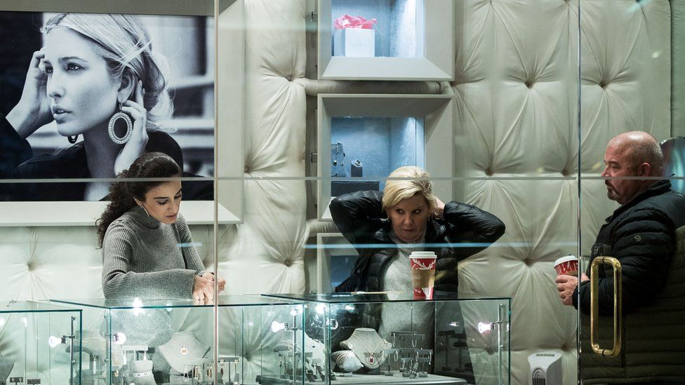"People browse jewellery at the ""Ivanka Trump Collection"" shop at Trump Tower, December 8, 2016 in New York City."