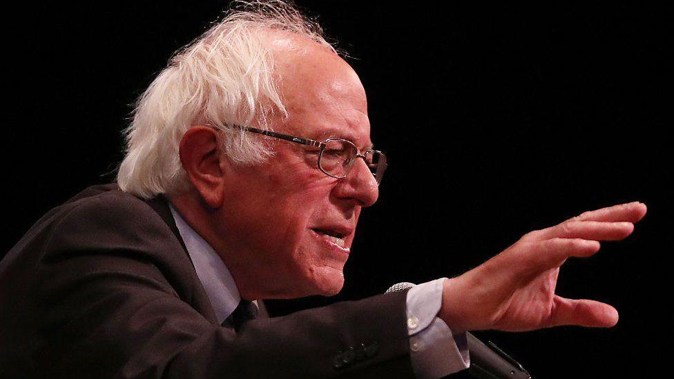 Bernie Sanders speaks at a rally in New York City