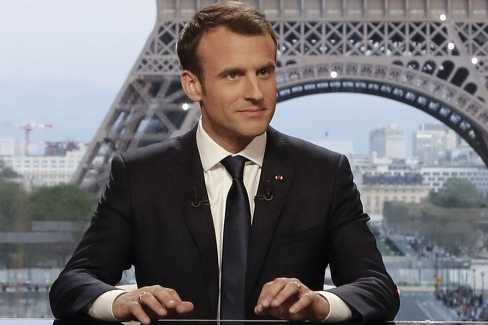 Emmanuel Macron defended the strikes in a live interview on TV