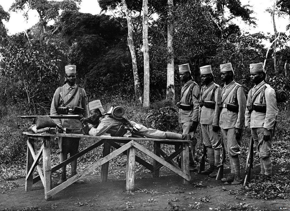 Askaris practice shooting World War I, Tanzania