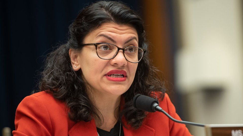 US Representative Rashida Tlaib, Democrat of Michigan, questions US Secretary of Treasury Steven Mnuchin as he testifies during a House Committee on Financial Services hearing on Capitol Hill in Washington, DC, May 22, 2019.