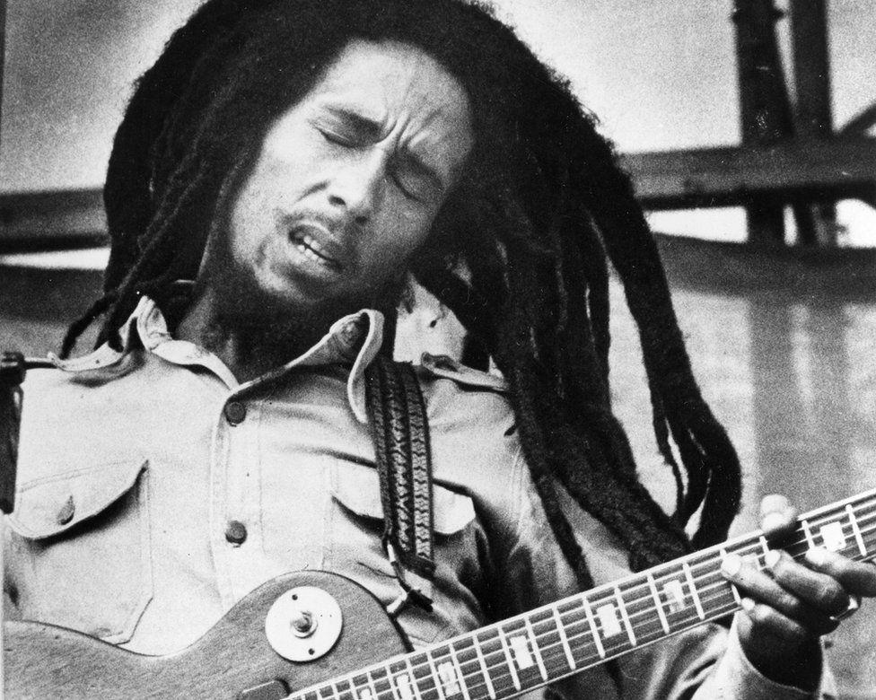 Jamaican reggae singer Bob Marley is shown performing in 1979