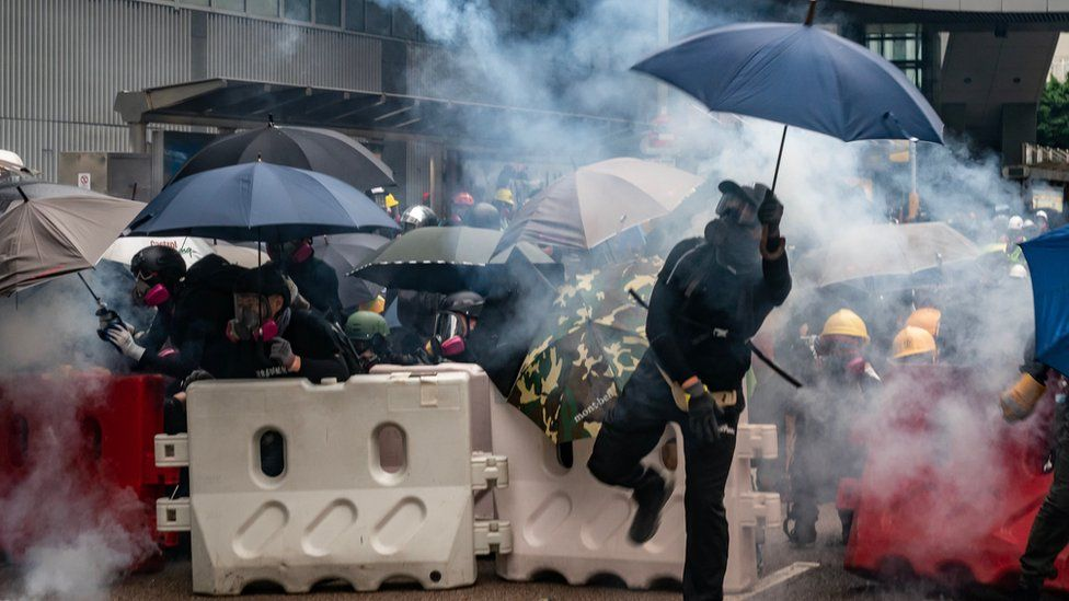 Protest during anti-government rally in Hong Kong