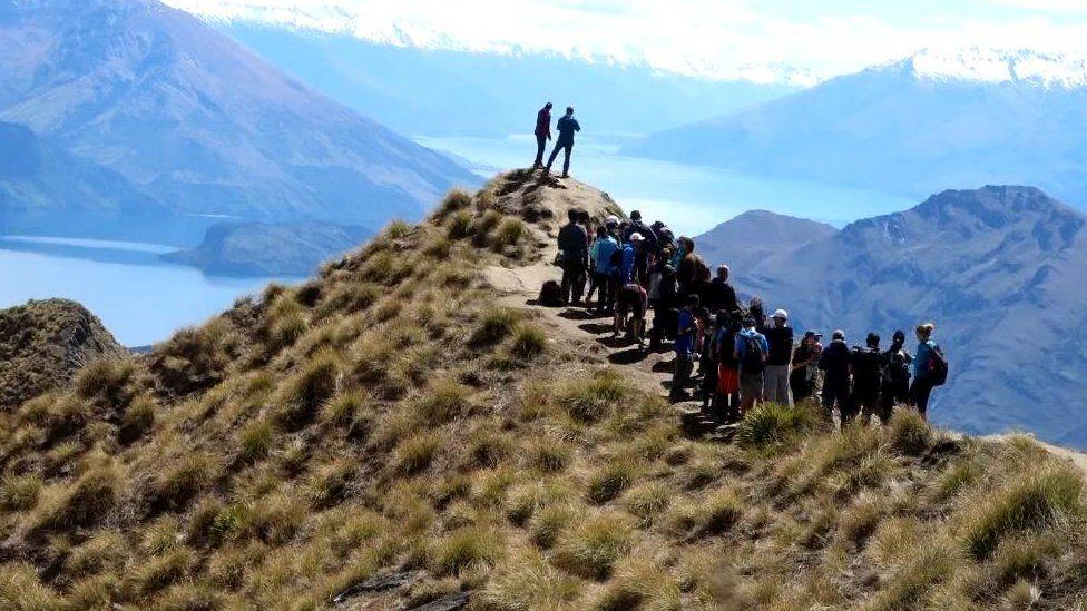 Tomas Alfoldi queued for a photo at Roy's Peak