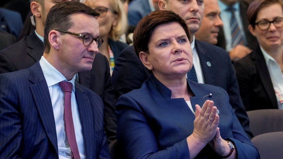 Finance Minister Mateusz Morawiecki and Prime Minister Beata Szydlo during in Jesionka near Rzeszow, Poland November 16, 2017
