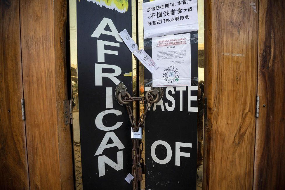 Closed African restaurant is seen in Guangzhou, Guangdong province, China, 13 April 2020.