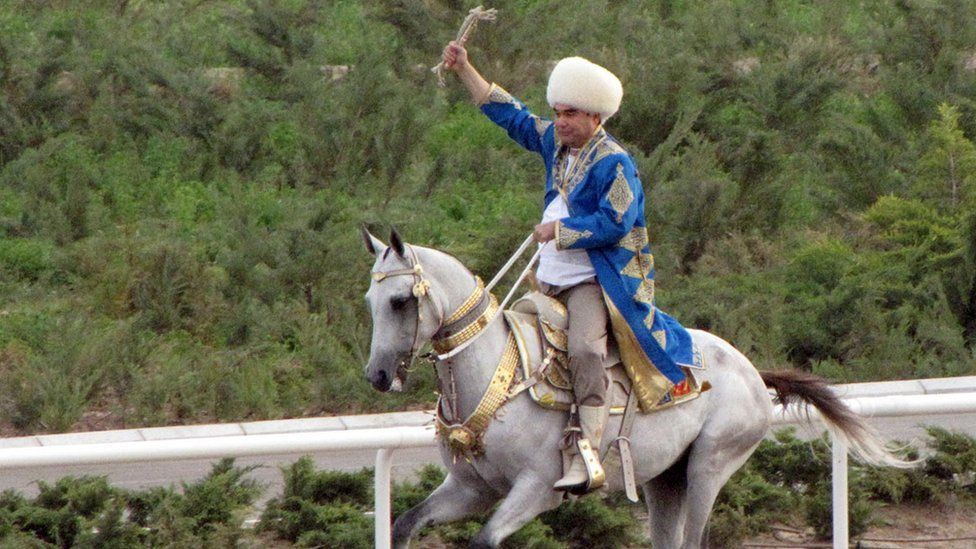 Turkmen President Gurbanguly Berdymukhamedov rides during a Day of Turkmen tiger beetle state holiday