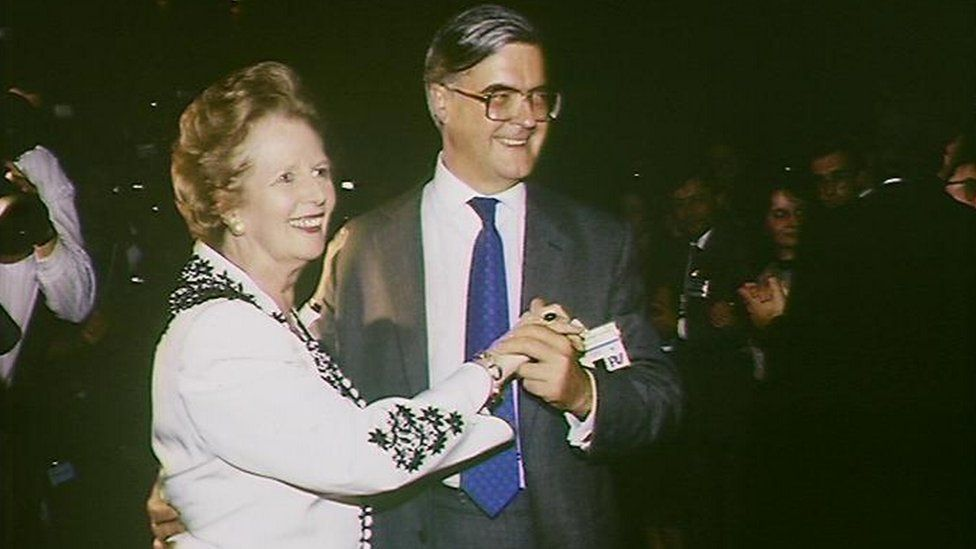 Margaret Thatcher dances with Kenneth Baker at Conservative party conference in 1989