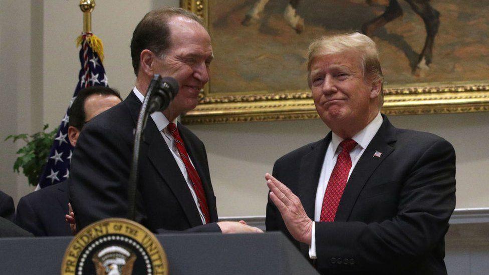 David Malpass and Donald Trump