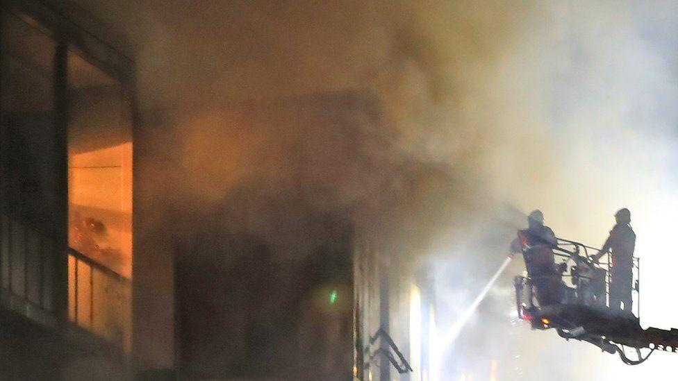 Fire crews tackle blaze