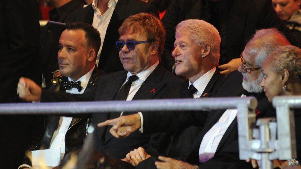 David Furnish, Elton John and Bill Clinton at the event