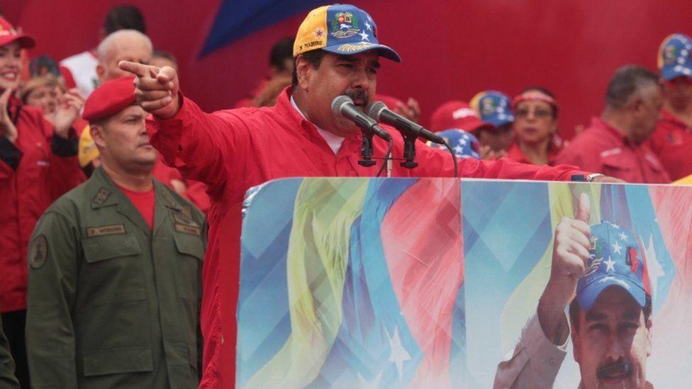 President Nicolas Maduro during pro-government rally on Wednesday
