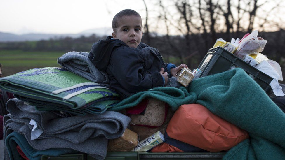 Young boy at the Greek-Macedonia border