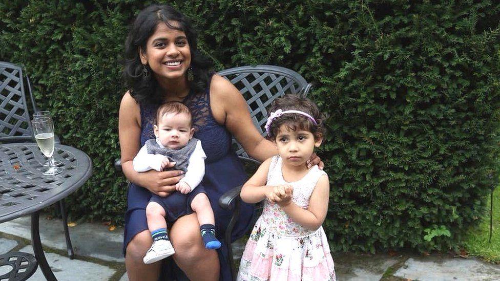 Nikita Jain Jones with her two children