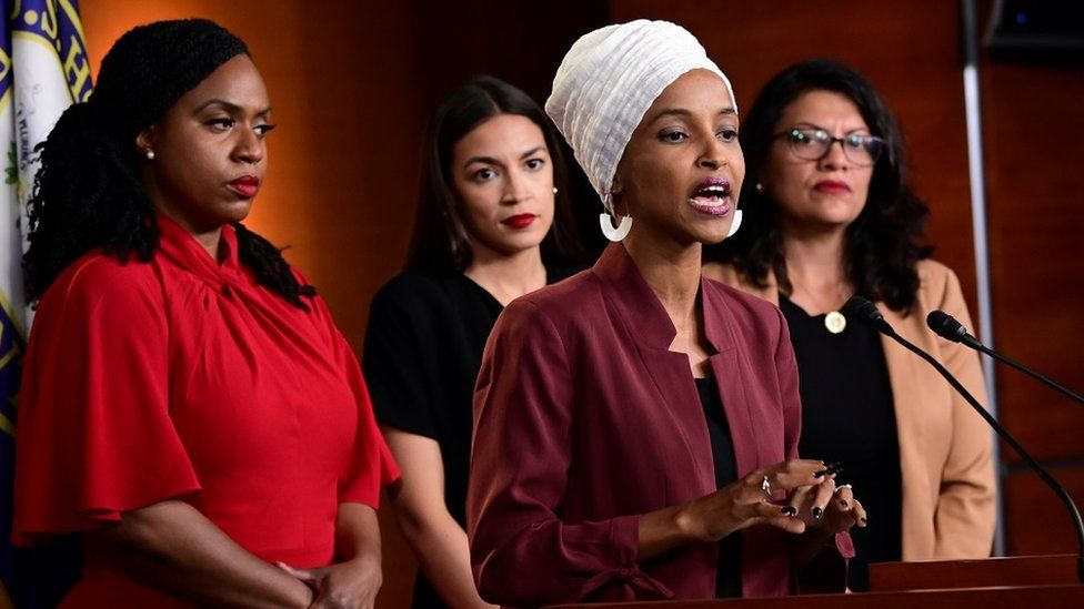 """Ayanna Pressley (D-MA), Ilhan Omar (D-MN), Alexandria Ocasio-Cortez (D-NY) and Rashida Tlaib hold a news conference after Democrats in the U.S. Congress moved to formally condemn President Donald Trump""""s attacks on the four minority congresswomen on Capitol Hill in Washington, U.S., July 15, 2019."""