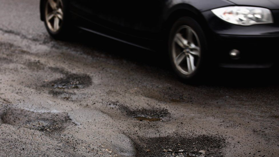 Potholes in a UK road