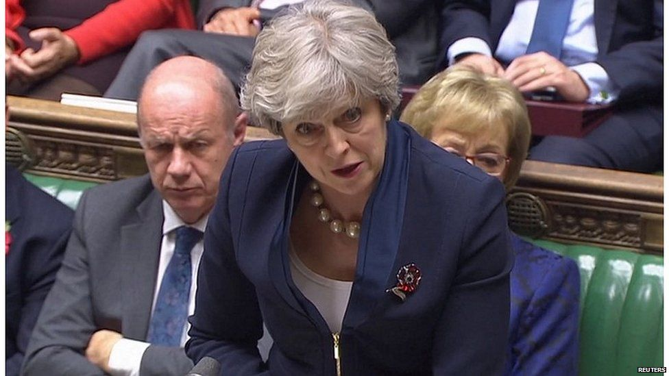 Damian Green sitting alongside Theresa May at Prime Minister's Questions