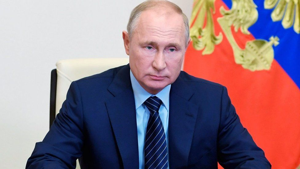 Russia's President Vladimir Putin speaking at the end of July