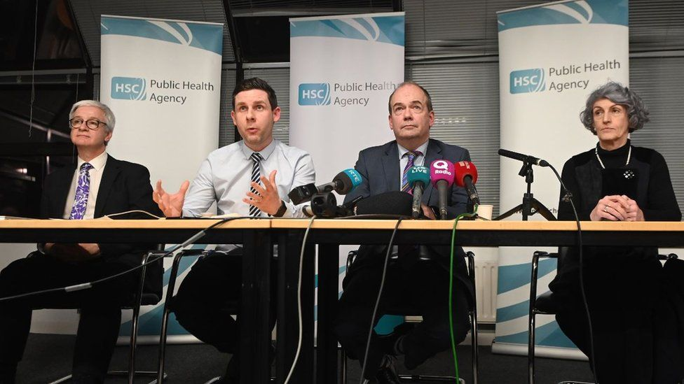 Dr Michael McBride (chief medical officer, second from right) announces the first detected case of the coronavirus in Northern Ireland at a press conference at the Public Health Agency HQ in Belfast. Dr Michael McBride held a press conference with, from left to right, Dr Adrian Mairs (Public Health Agency), Dr Philip Veal (consultant in health protection) and Dr Miriam McCarthy (director of commissioning at the Health and Social Care Board)