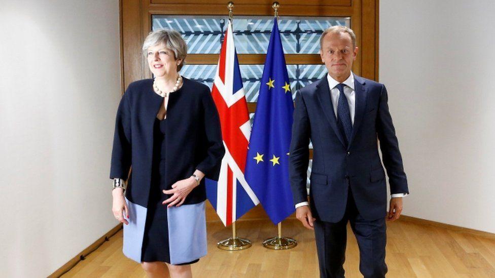 Theresa May and Donald Tusk at the summit