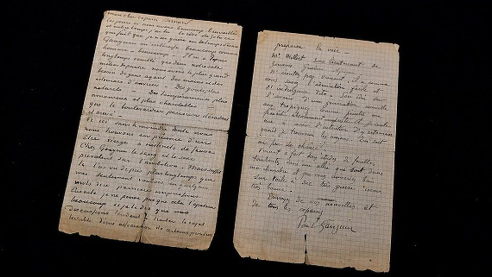This picture shows a letter co-written by Dutch painter Vincent Van Gogh and French painter Paul Gauguin