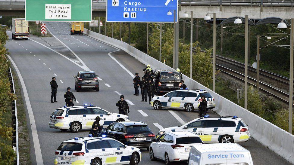 Police barrier near the Oresund bridge
