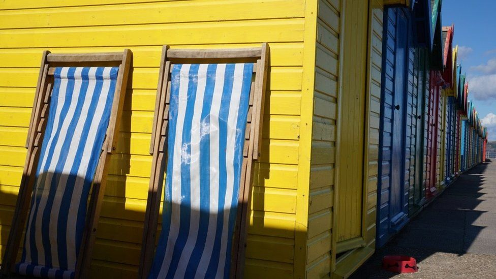 Beach huts in Whitby