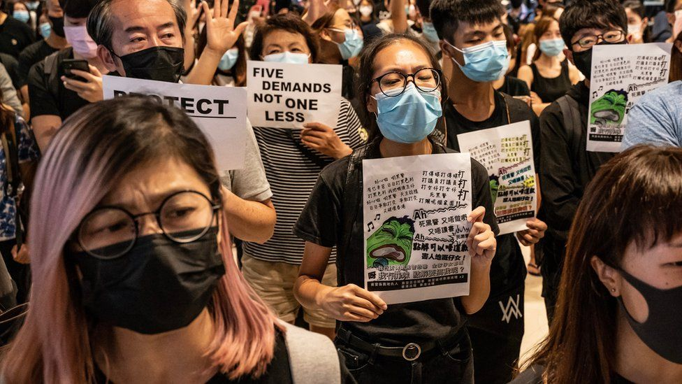 Pro-democracy protesters in Hong Kong on 21 September