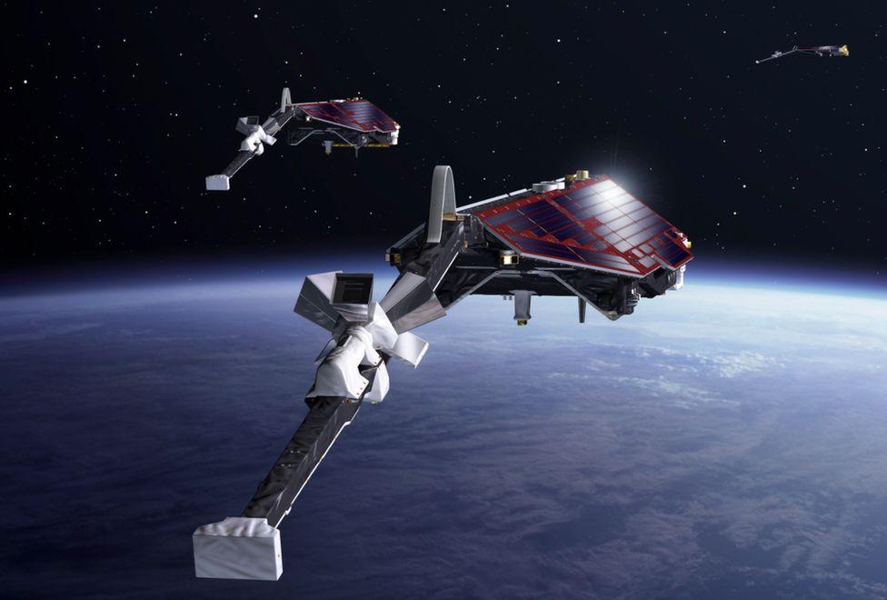 Artist's impression of the Swarm satellites