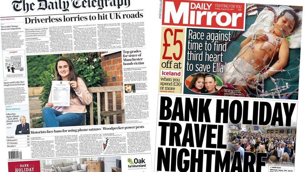 Telegraph and Mirror front pages