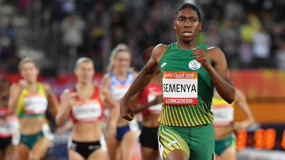 Caster Semenya running in the 1500m at the 2018 Commonwealth Games