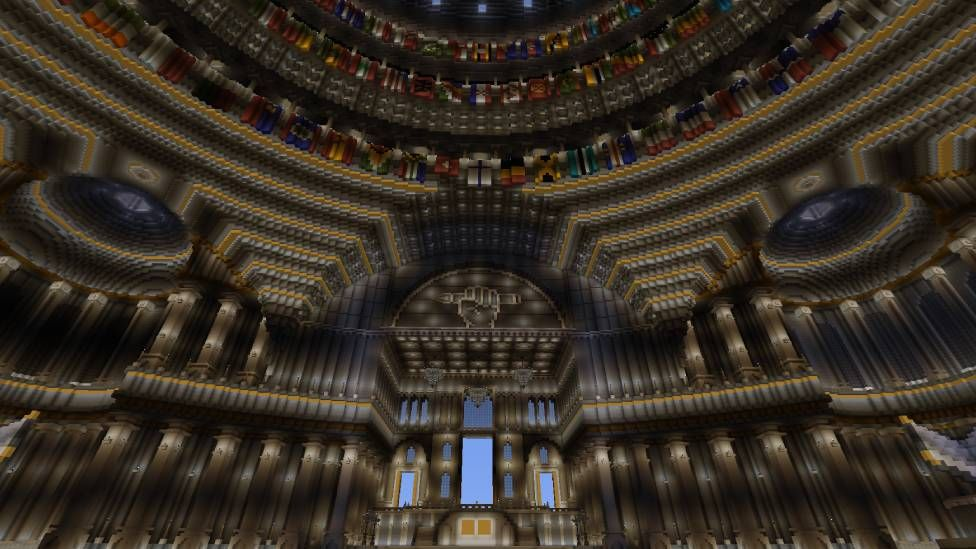 Minecraft library interior dome with flags
