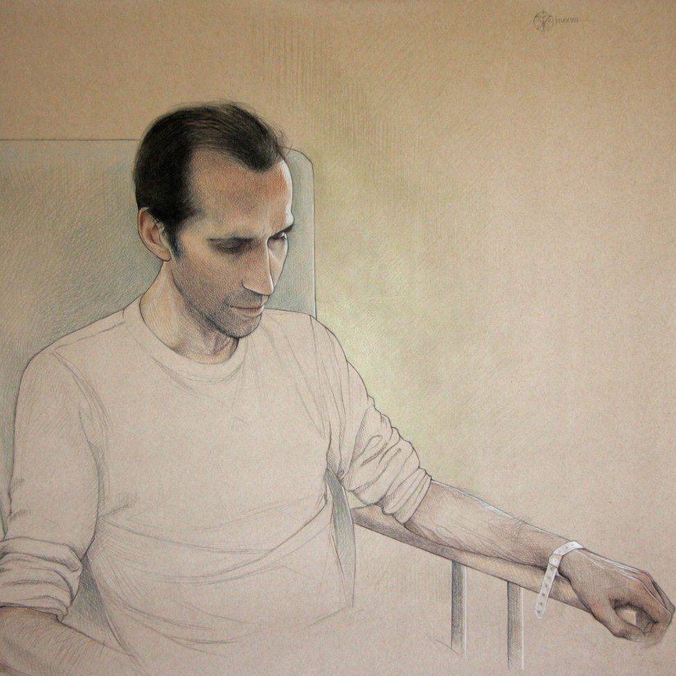 Portrait by Virginia Colley entitled 'Chris in hospital'