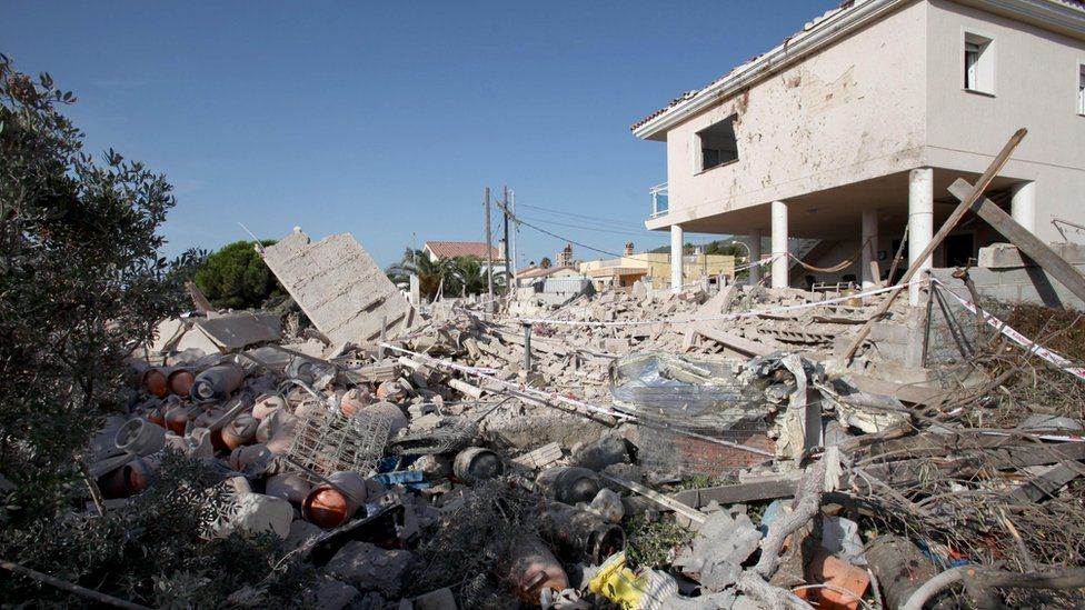Debris from Alcanar house after explosion - 17 August