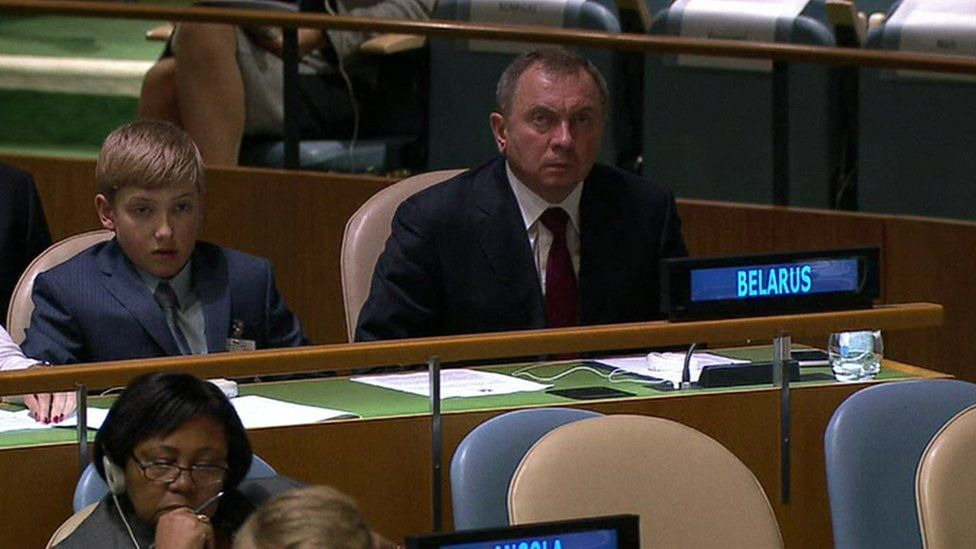 Belarus president's 11-year-old son Kolya watches his father during the UN General Assembly