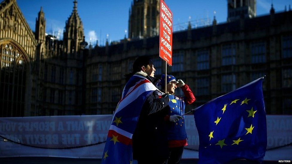 Anti-Brexit supporters outside Parliament