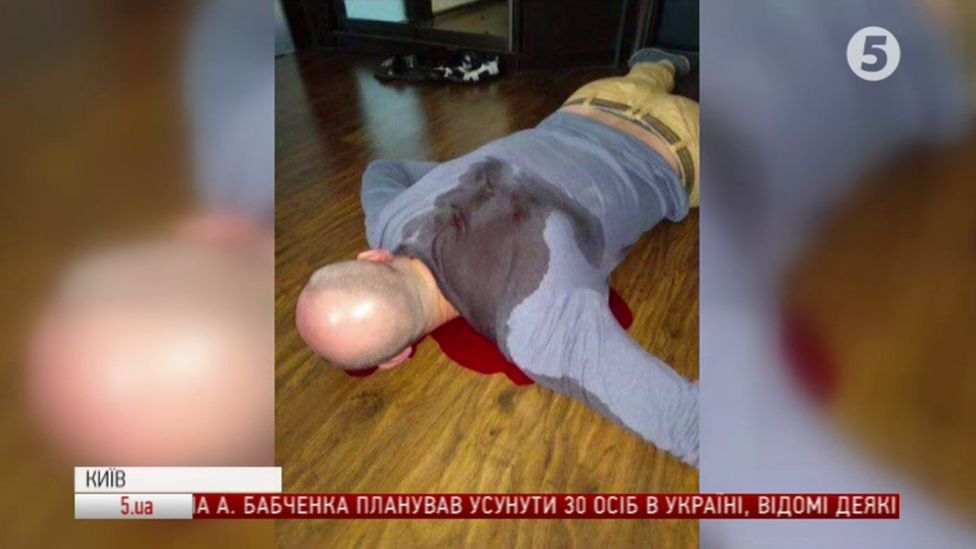 Ukrainian television show the image of Babchenko on his front, bleeding from alleged bullet wounds to his back