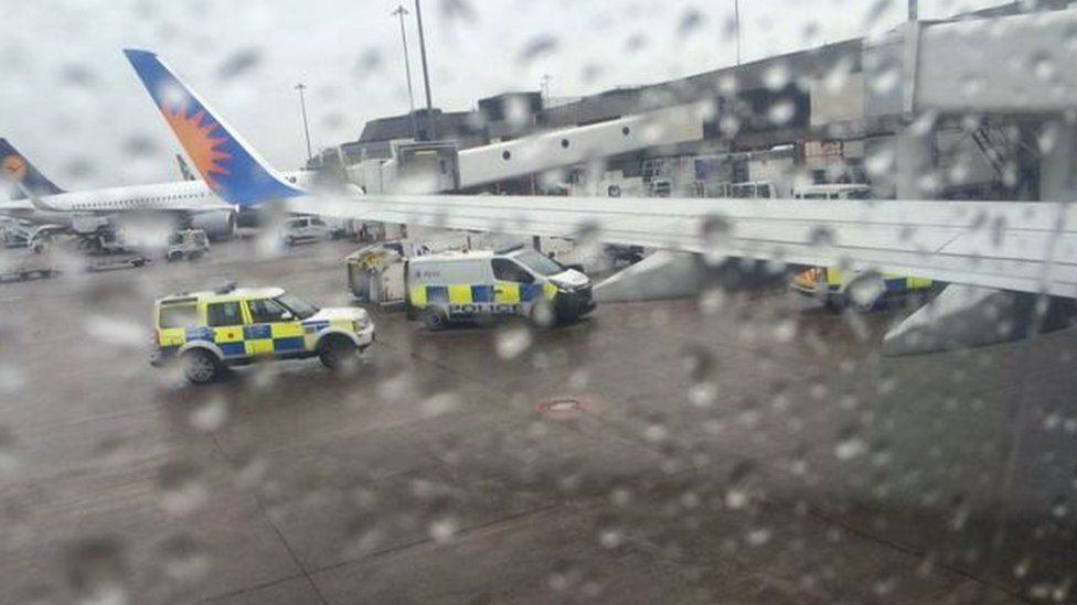 Police attend plane