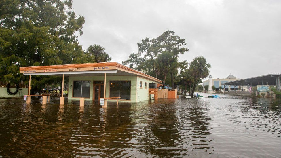 The Cooter Stew Cafe in Saint Marks, Florida, is an early victim of storm surge