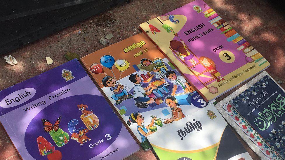 Children's schoolbooks were found amid the wreckage in Sainthamaruthu