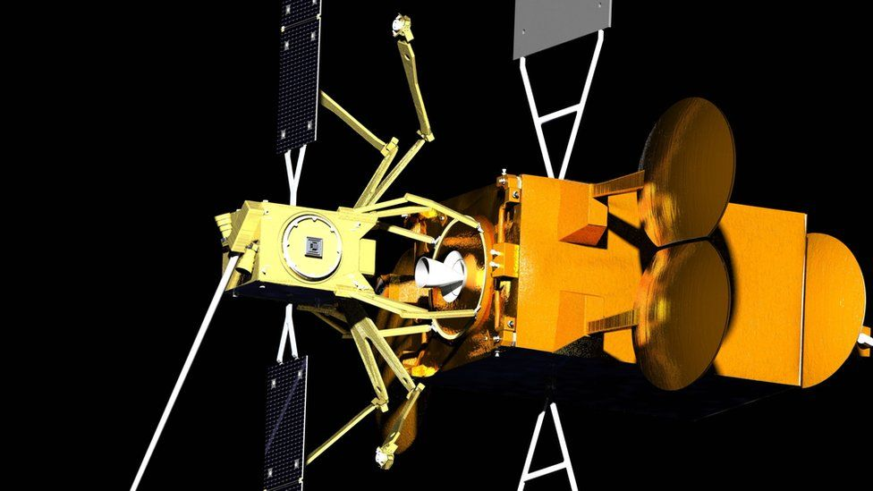 "The ""Space Drone"" (yellow) would dock with the ageing telecommunications satellite"