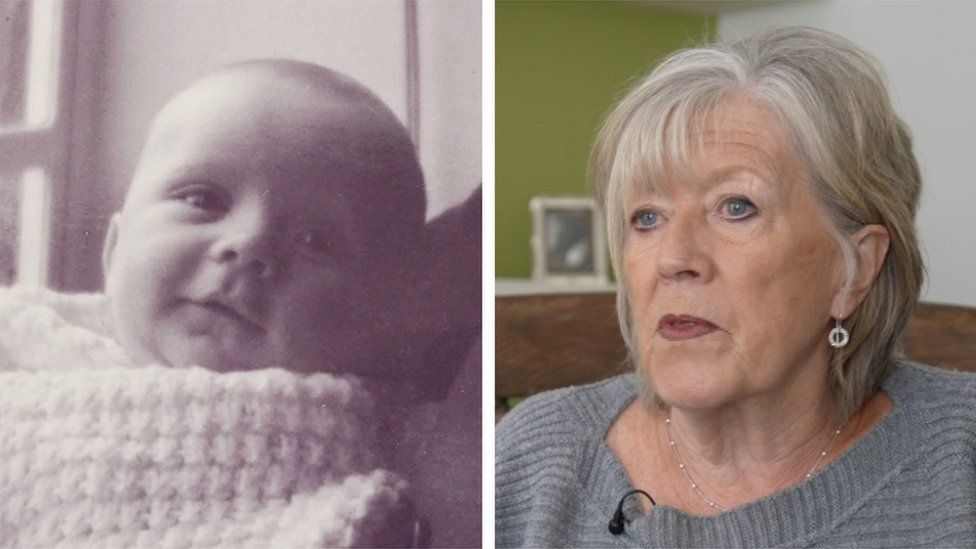 Jill Killington and the baby she was forced to relinquish
