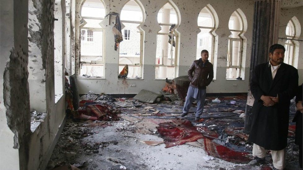 The inside of the mosque in Kabul attacked by a suicide bomber, 21 November 2016