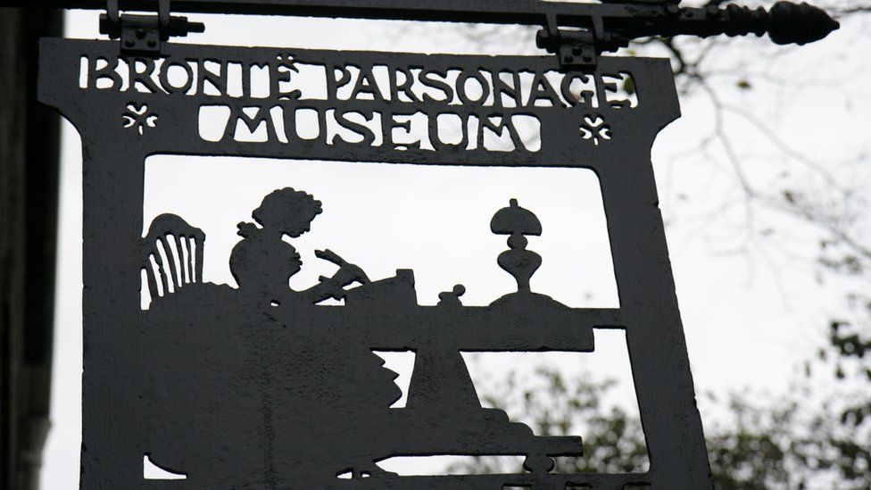 A sign for the Bronte Parsonage