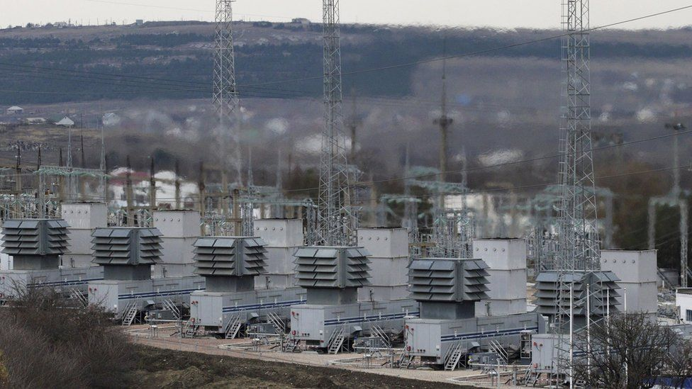 A general view shows the facilities of a mobile gas turbine generator, which was turned on due to recent power outages after pylons carrying electricity were blown up, in the settlement of Stroganovka, Simferopol district of Crimea, November 22, 2015.