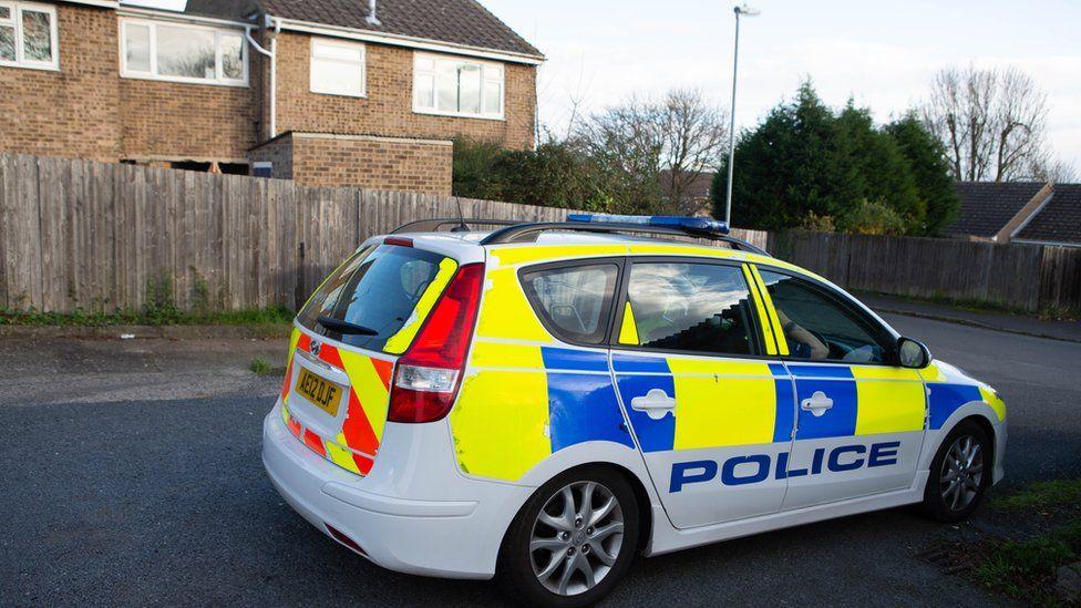 Police car in Wykes Road, Yaxley